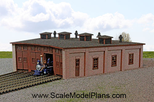 Model Railroad and Diorama Trackside Plans in HO Scale, O ... on engine shed floor plans, railroad depot floor plans, trailer house floor plans, locomotive house plans, ho locomotive shed floor plans, railroad section house floor plans,