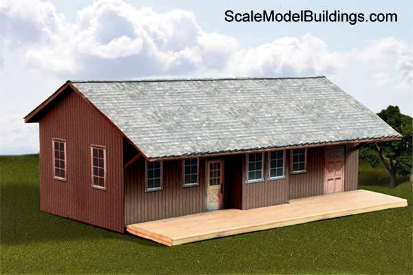 Cardstock model building for model trains for Railroad depot plans